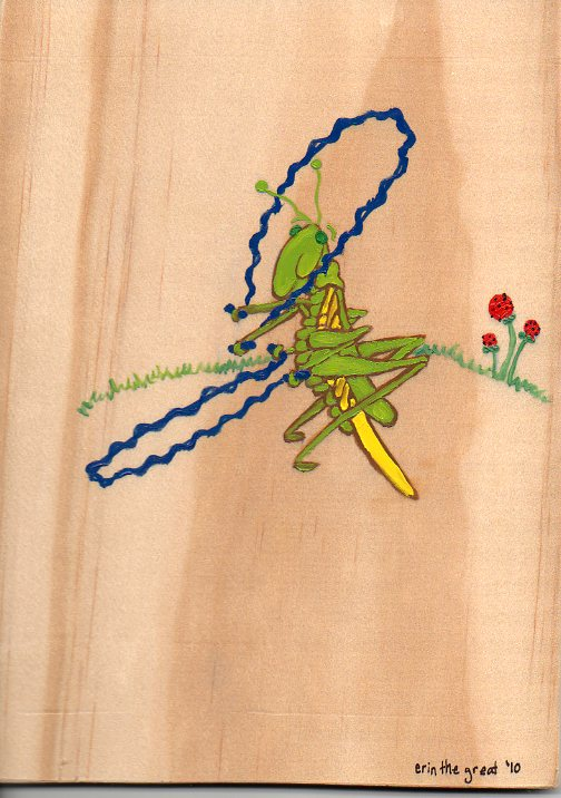 Jumping Grasshopper Painting, Art by Erin