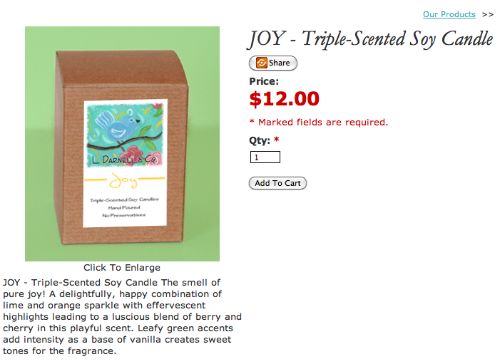 Lisa Darnell, My Mommy's Water Balloon, soy candle, joy soy candle