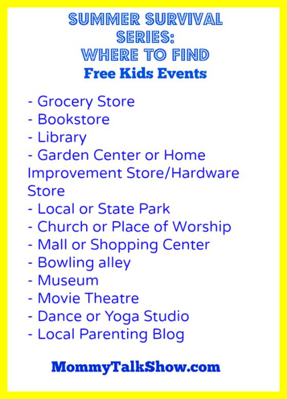 Find Free Kids Events ~ MommyTalkShow.com
