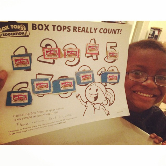 We will turn in out Box Tops for Education today to raise money for A.J.'s elementary school. Let me know if you'd like to send some more our way - from your General Mills cereal box.