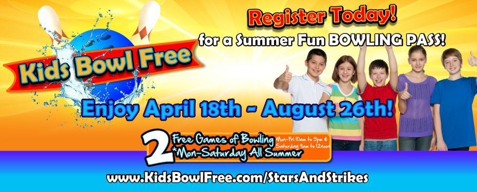 Kids Bowl Free – Select bowling centers and schools around the country are participating in the first ever Kids Bowl Free program. This program is designed by bowling centers to give back to the community and provide a safe, secure, and fun way for kids to spend time this summer.