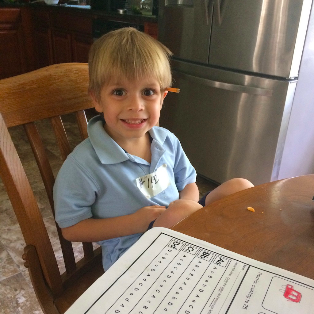 My youngest, starting kindergarten this year, embracing a new adventure.